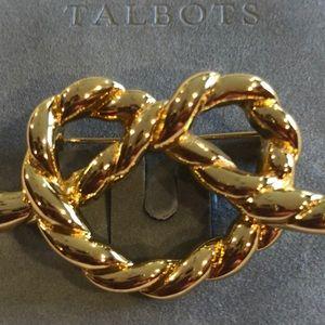 Talbots Pretzel Brooch - gold